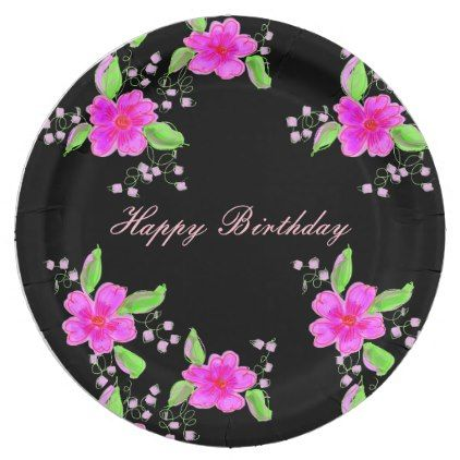 Pretty pink flowered paper birthday decor paper plate bridal pretty pink flowered paper birthday decor paper plate mightylinksfo