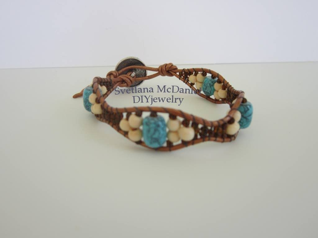 865f243464117 Wave Leather Bracelet. Chan Luu inspired Bracelet . Браслет Волна ...
