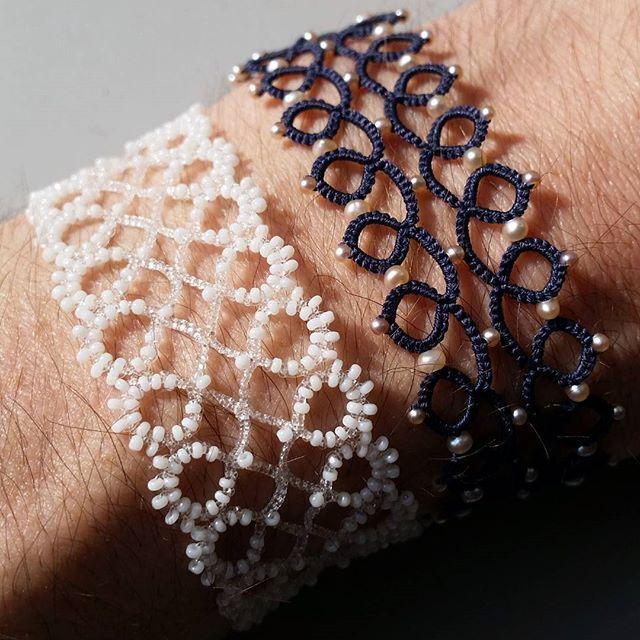 New bracelet :) #bracelet #frivolité #tatting #perles #beads #pearls