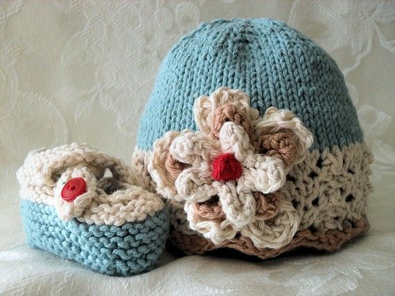 Hand Knitted Baby Hat in Ivory Lace and Soft Blue Hand Knitted Baby ...