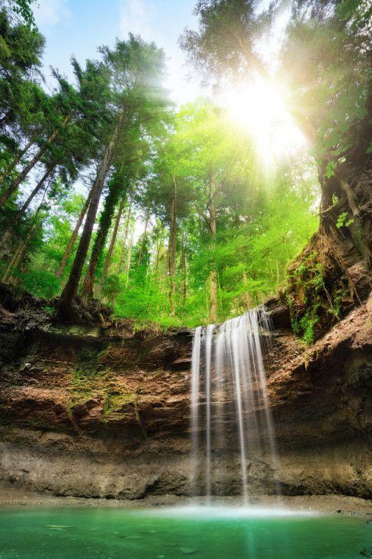 Fototapete Faszinierender Wasserfall | Wasserfall Tapete, Fototapete Und  Wasserfall