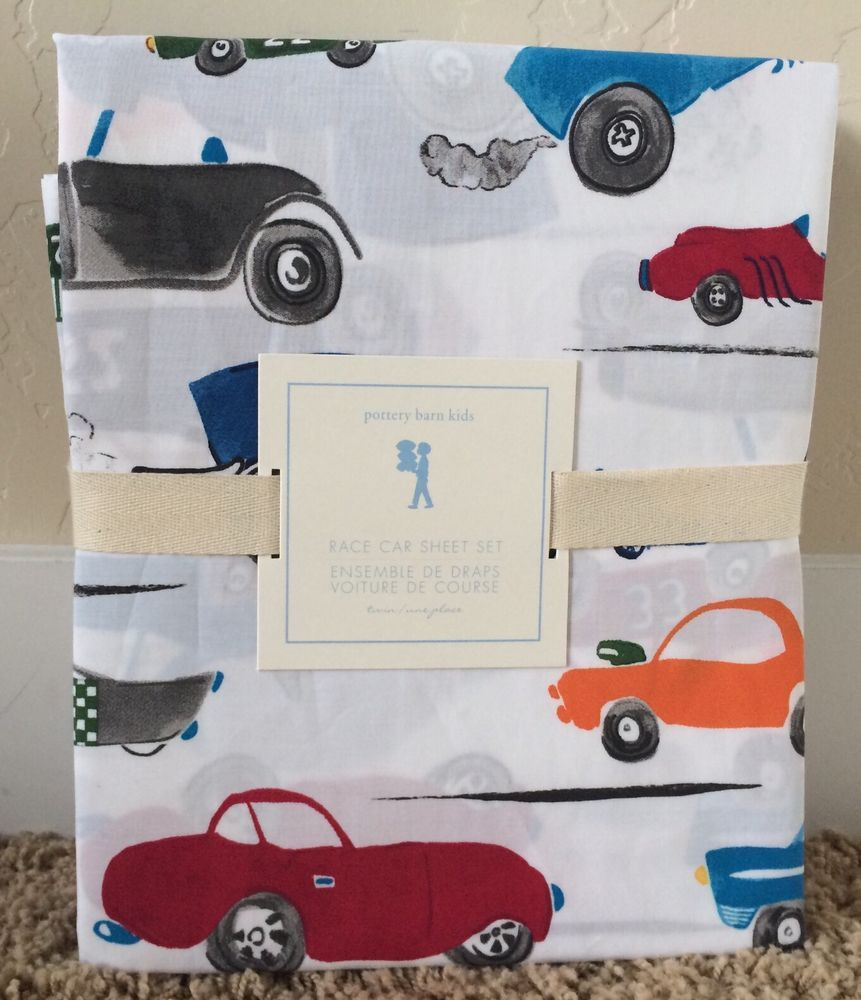 pottery barn kids race car twin sheet set new hot rod dragster sports cars boys