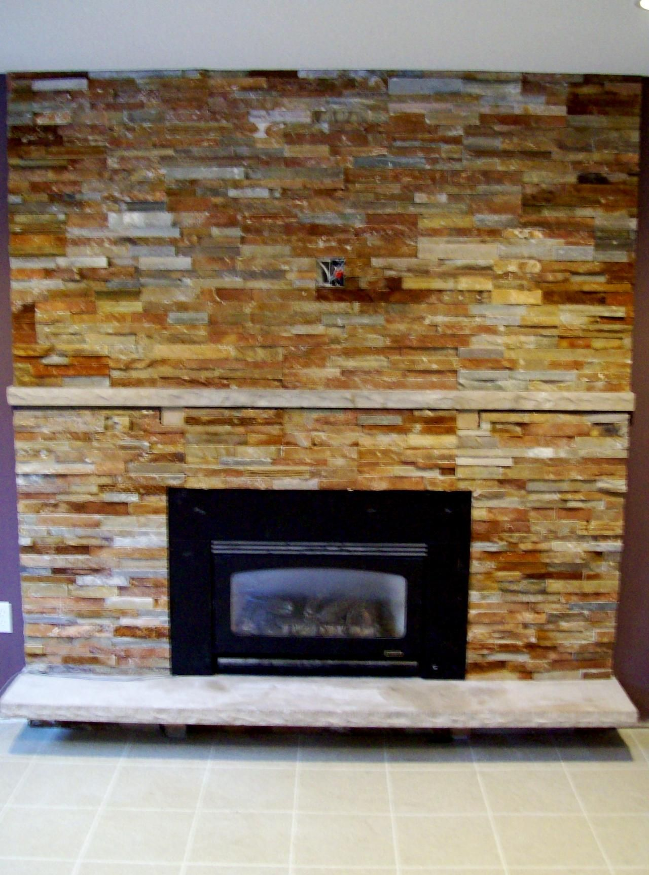Amazing Stacked Stone Fireplace With Small Black Electric Gas Fireplace  Without Mantel As Well As White White Marble As Based Floors Front Fireplace  ...