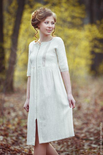 029fc5fb8c4 Платья ручной работы. Ярмарка Мастеров - ручная работа. Купить  Валяно-льняное платье МОЛОКО. Handmade. Белый
