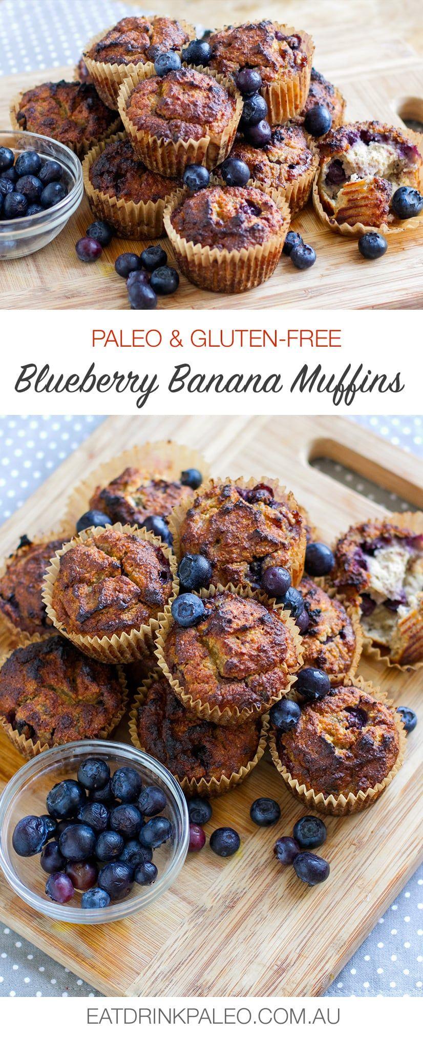 Paleo Blueberry Banana Muffins | http://eatdrinkpaleo.com.au/paleo-blueberry-banana-muffins/