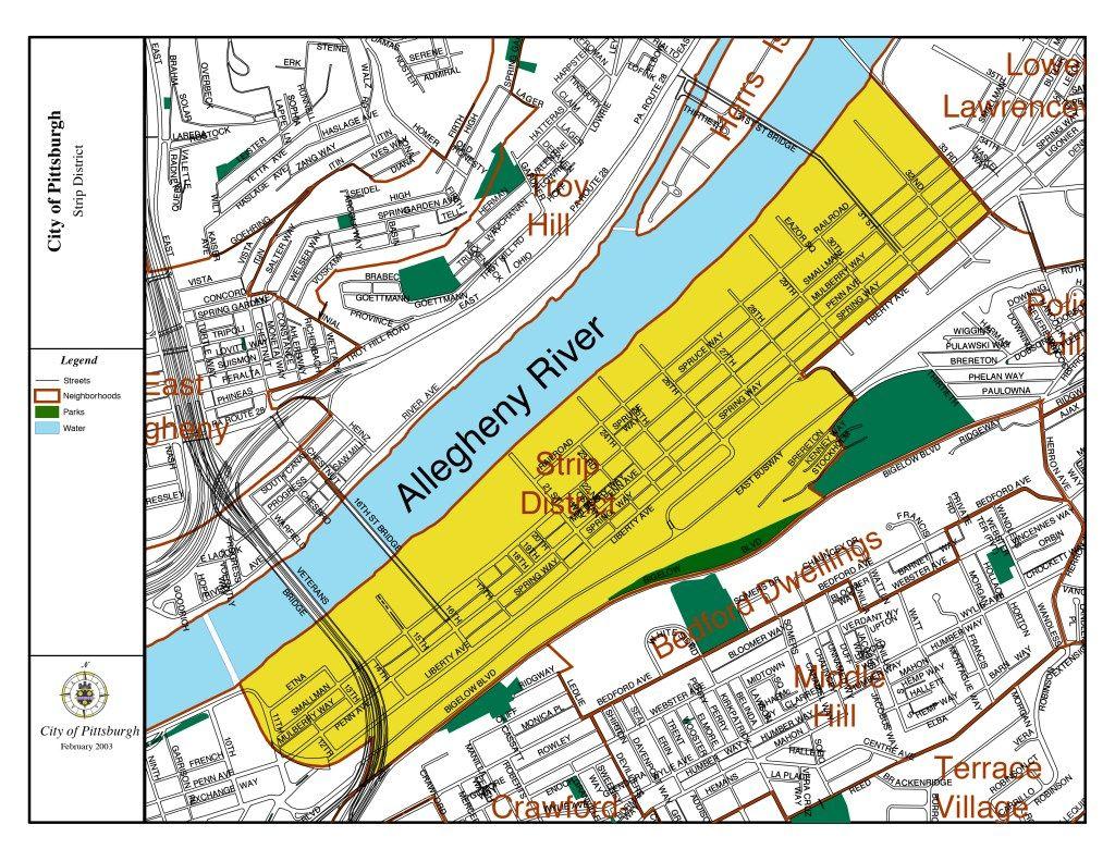 Strip District Map | Pittsburgh map, Pittsburgh, Pittsburgh pa