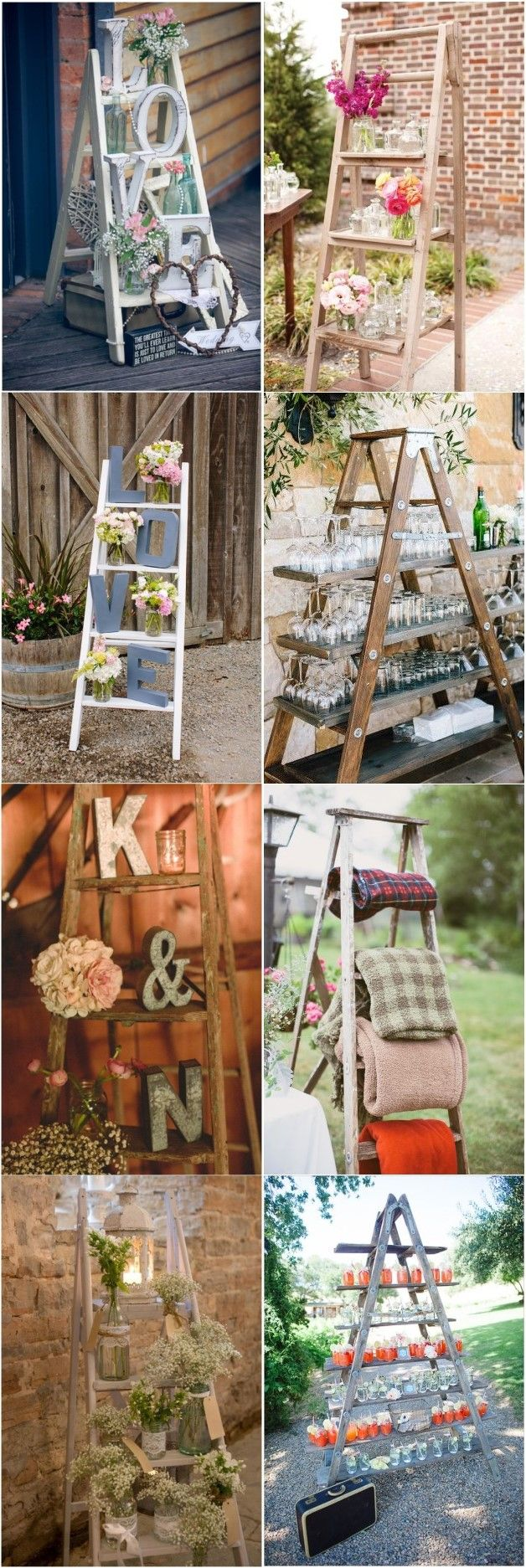 Wedding decorations country   Rustic Country Wedding Decoration Ideas with Ladders  Yellow