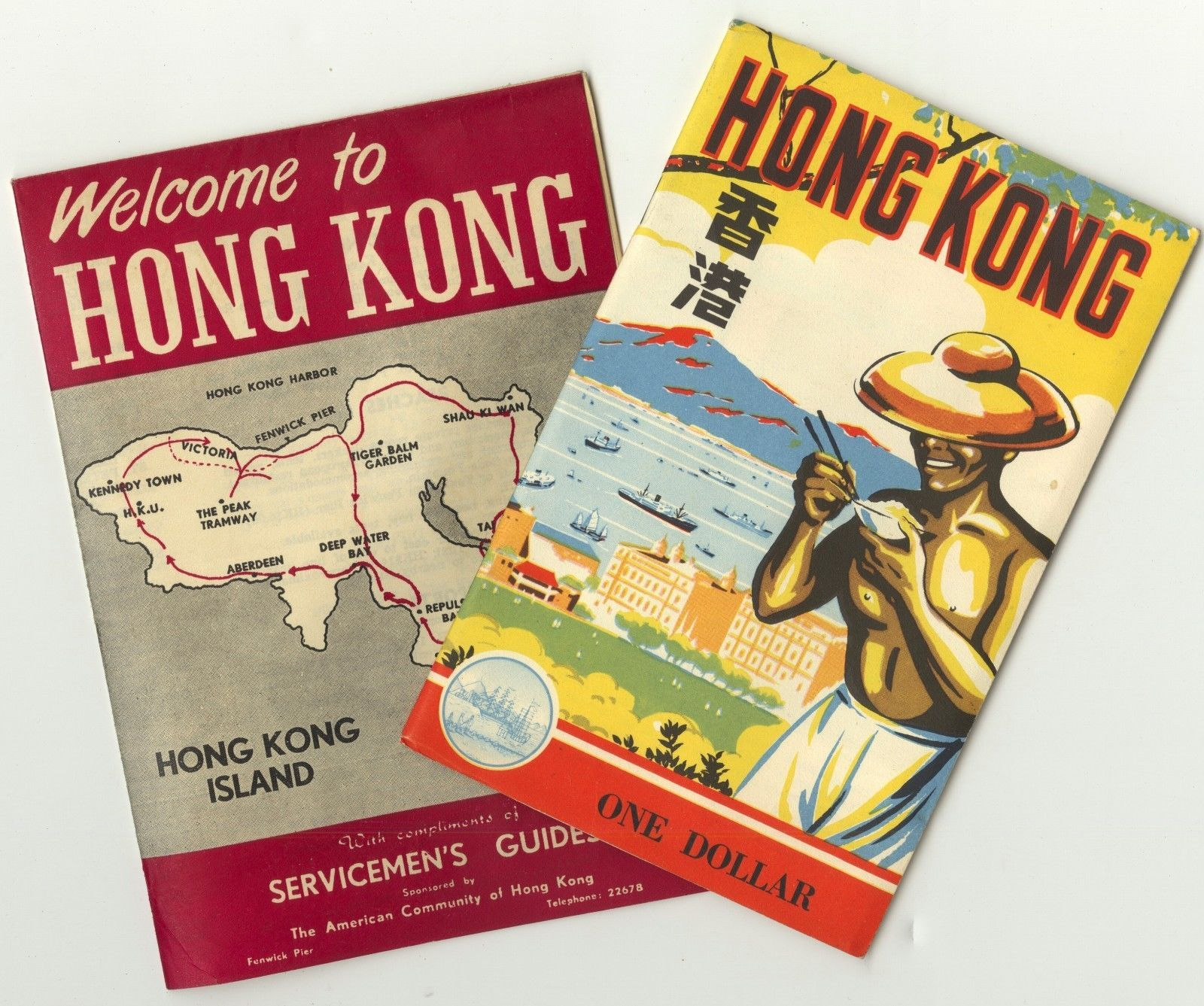 2 vintage 1953 1954 hong kong travel brochure booklets maps color tourist guides ebay i love. Black Bedroom Furniture Sets. Home Design Ideas