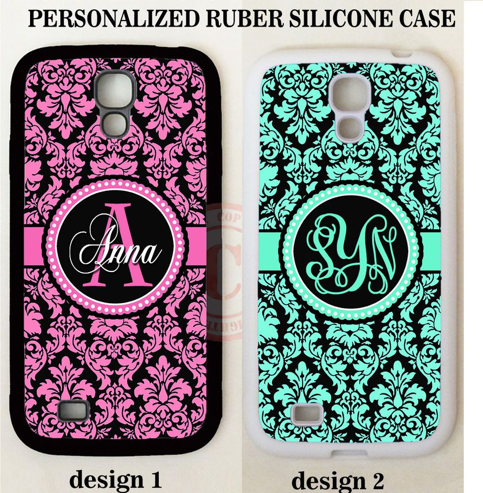 PINK TEAL BLACK DAMASK CUSTOM MONOGRAM PHONE Case For Samsung Galaxy S7 NOTE 5 4 #UnbrandedGeneric