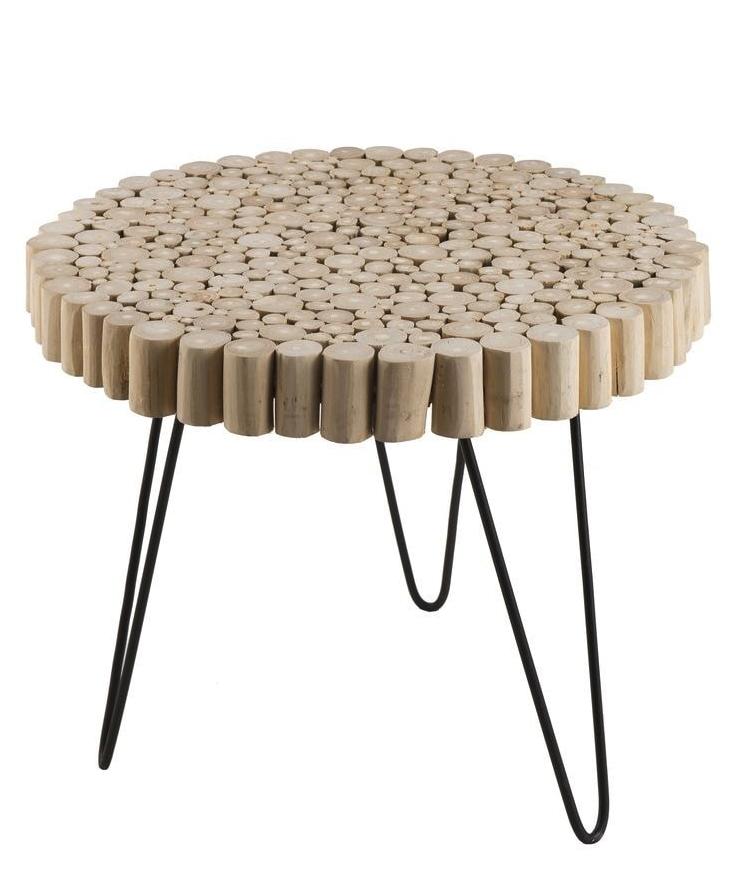 Table D Appoint Ronde Plateau En Rondelles De Bois Pietement En Metal Noir Collection Mia Bout De Canape Bois Table D Appoint Table D Appoint Ronde