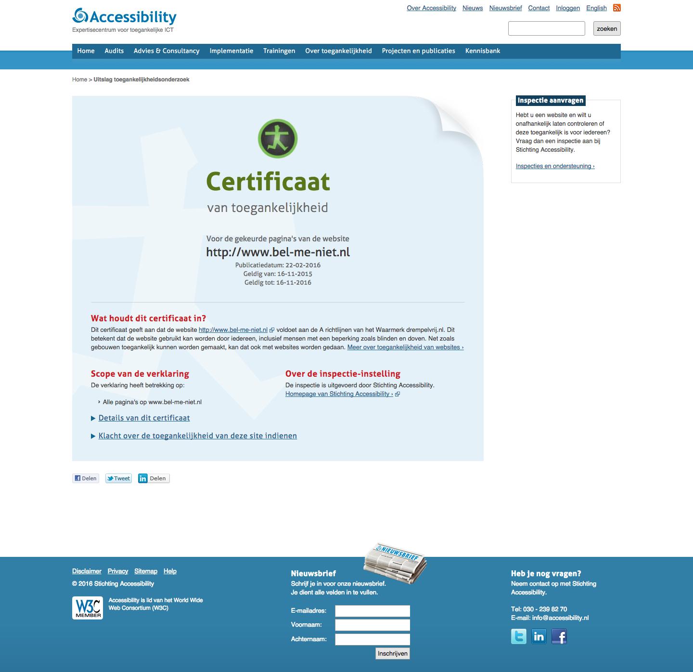 Het Accessability (WCAG) certificaat van het Bel Me NIet Register