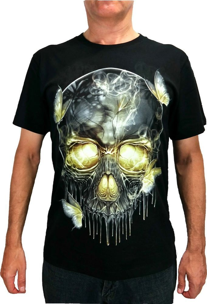 Rock Chang Illuminated Skull T Shirt Glow In The Dark Black Sz M L
