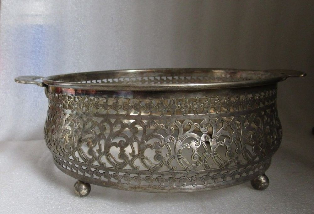 Details about Antique SILVER PLATE WM ROGERS Signed PIERCED TURKISH Islamic Reticulated Holder is part of Silver Home Accessories Art Deco -