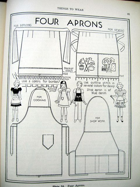Childs Apron patterns 1946 | Costura, Patrones y Molde