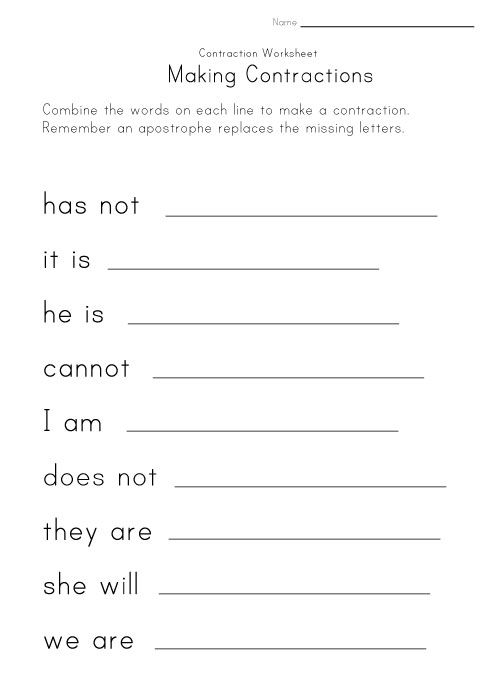 Making Contractions Worksheet Contractions Worksheets Worksheets Contraction Worksheet Contractions worksheet 2nd grade