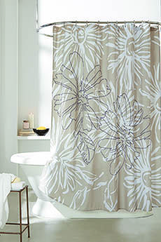 Bbb Dk City Garden Printed Panel Sc Fabric Shower Curtains Cotton Shower Curtain Garden Shower