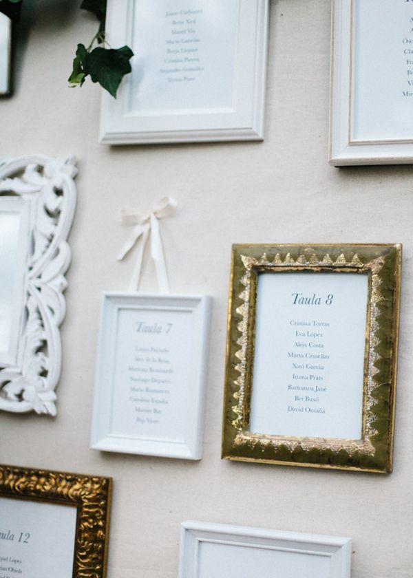 Listas de las mesas en marcos de diferentes tamaños. Boda romántica ...