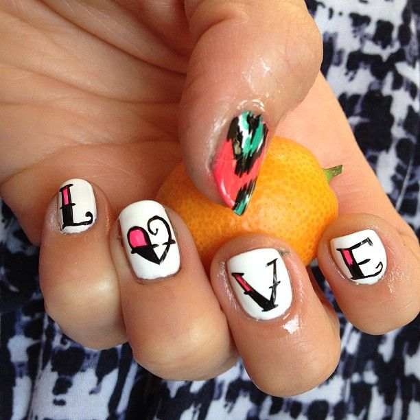 love - white NAILS with heart for VALENTINE'S - photo by nailsyall