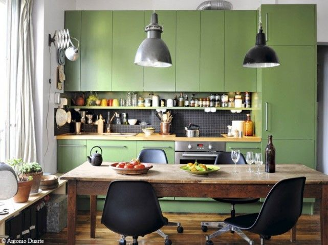 Meuble cuisine vert Deco Pinterest Green kitchen, Kitchens and