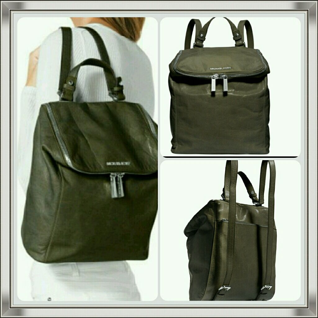 0dc54c6370ae Olive Green Leather Michael Kors Backpack | Products | Pinterest ...