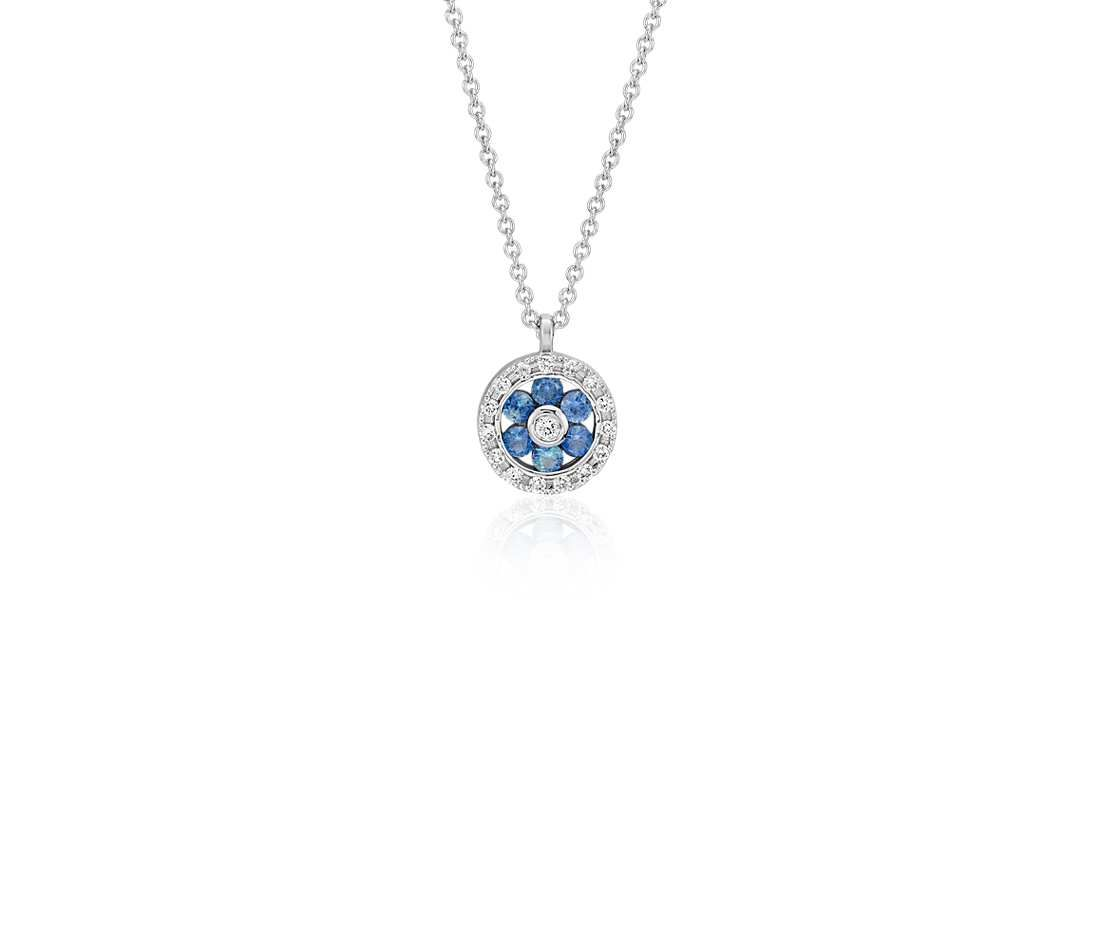 Petite sapphire and diamond floral pendant in 14k white gold 15mm petite sapphire and diamond floral pendant in 14k white gold 15mm mozeypictures Images