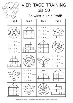 Vier-Tage-Mathe-Training (Zahlenraum bis 10) - | Pinterest | Maths ...