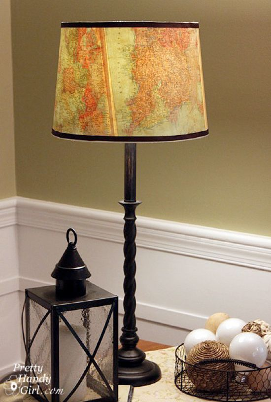 Cool Lamp Shade Ideas Maps Lamp Makeover Lamp Shade Crafts