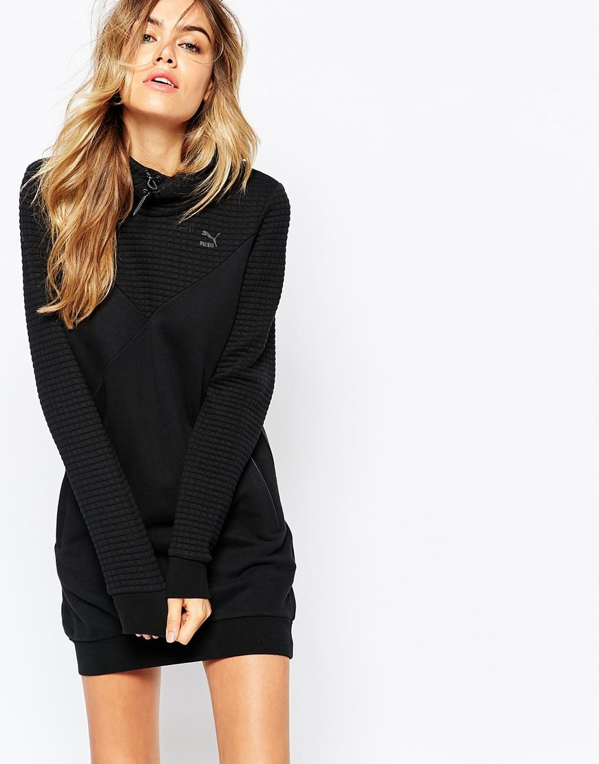 1b2053052ce796 Image 1 of Puma Quilted Hooded Sweatshirt Dress