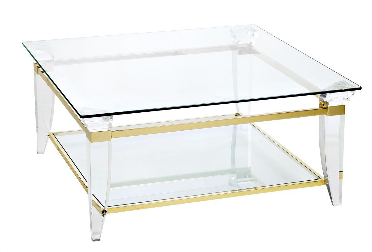table basse carree 2 plateaux de verre