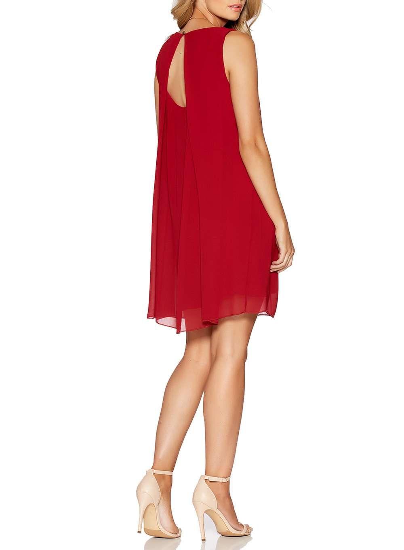 Quiz wine red chiffon necklace trapeze dress products pinterest