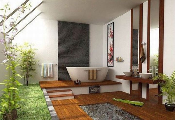 Japanese Bathroom Design Beauteous Contemporary Japanese Bathroom Designs With Wooden Pathway  Zen Decorating Design