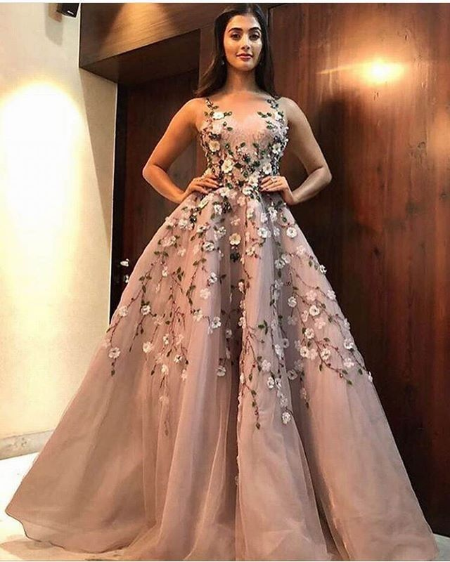 Pooja Hedge Bollywood Star Pretty Flower Dress Stylemakeuphair I