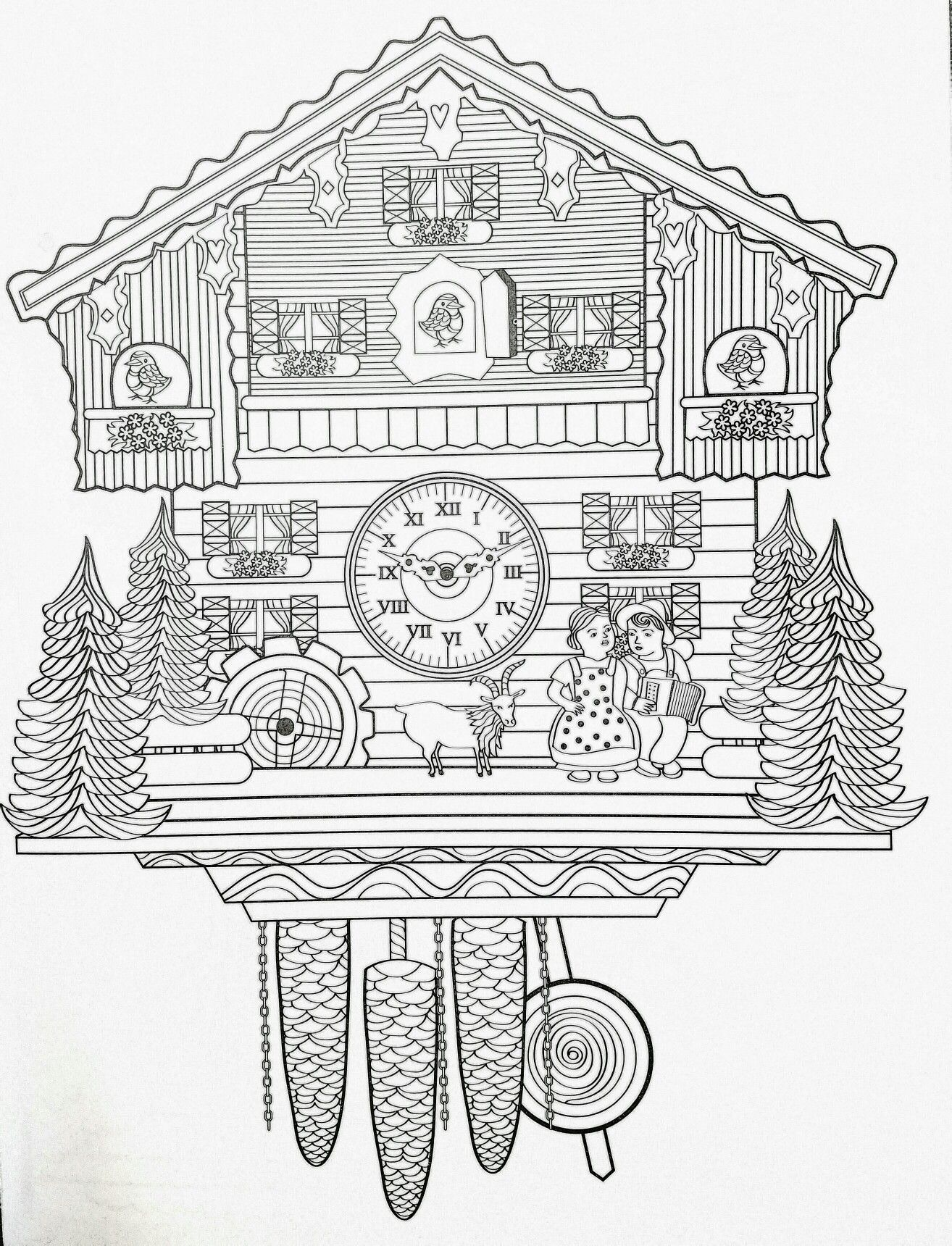 adult coloring page cuckoo clock Coloring Pages for