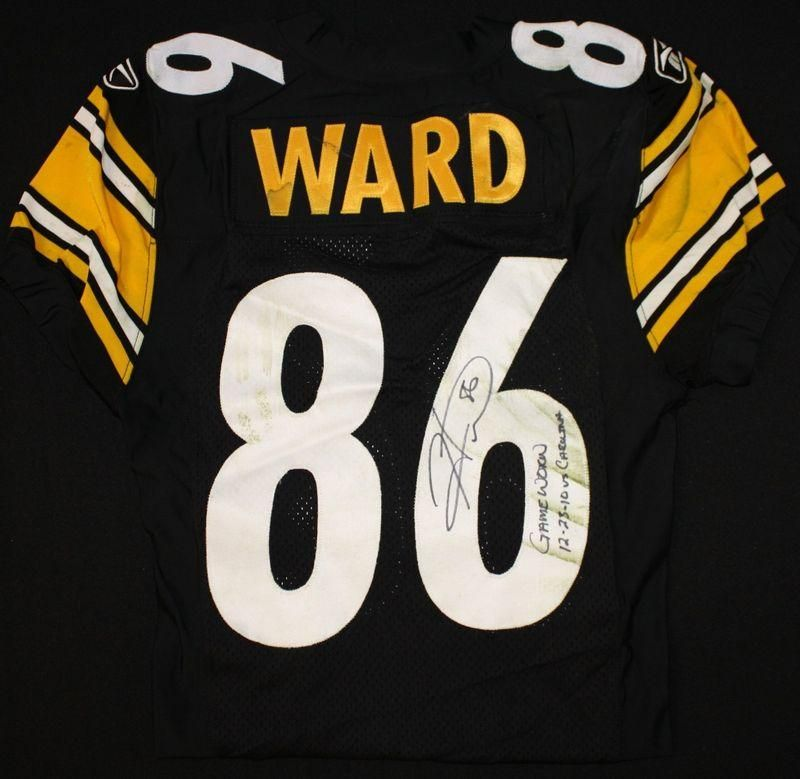 brand new 52c19 5733f Pittsburgh Steelers HINES WARD Signed Game Used Jersey vs ...