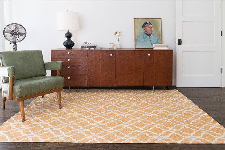 Eine zeitgenössische geometrische Teppich gibt einem