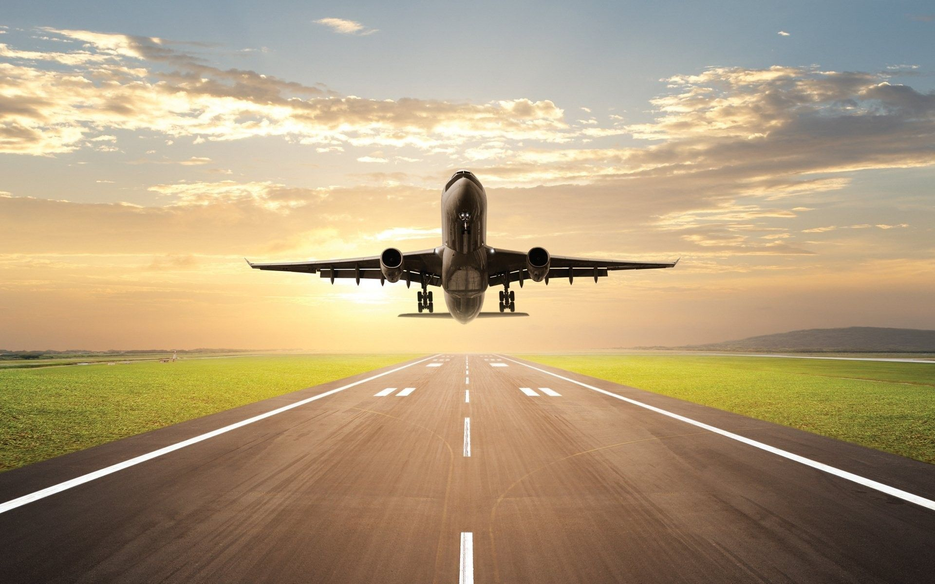 plane lands on the runway on sunrise. planes wallpaper. download
