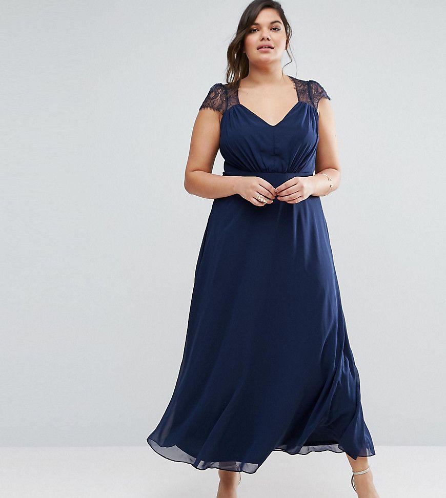 ASOS CURVE Kate Lace Maxi Dress - Navy