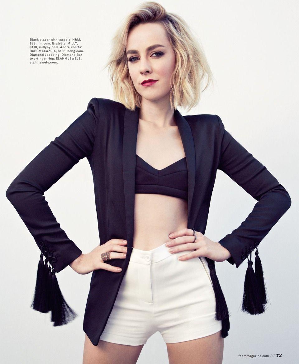 Black & White; bralet, blazer and shorts   Jena malone