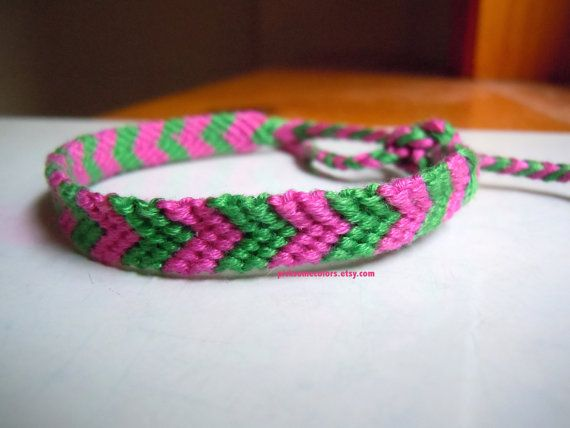 Chevron Bracelet Pink & Green  Ready to Ship by PickSomeColors, $4.00