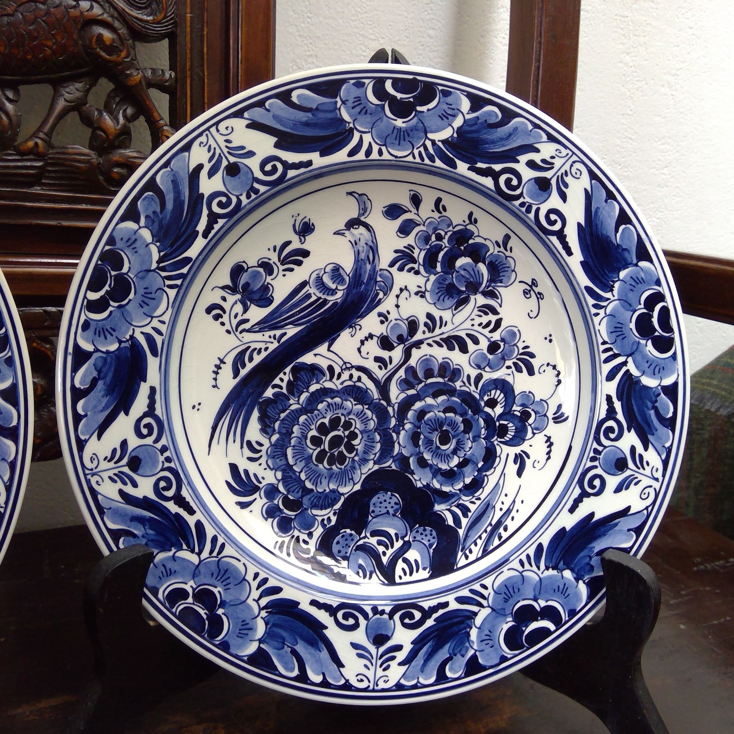 2 Vintage Delft Blue Wall Plates By Velsen Vls Holland Hand Etsy Pottery Art Velsen Plates On Wall