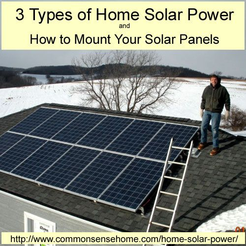 3 Types Of Home Solar Power How To Mount Your Solar Panels Solar Power House Solar Panels Solar