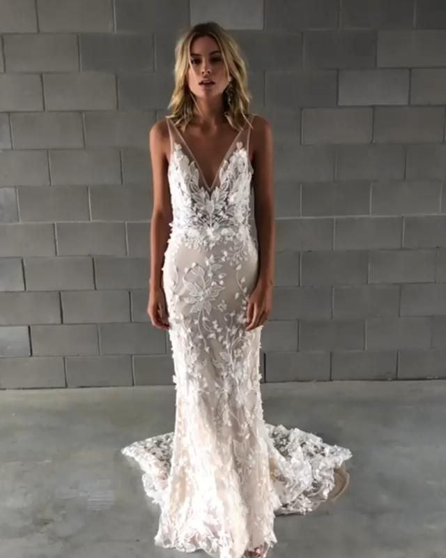 Made with Love Carla boho wedding dress V neck, straps and low back 3D floral appliqué lace sheath
