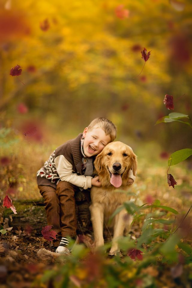 Kid With Dog Pictures Golden Retriever Children Photography