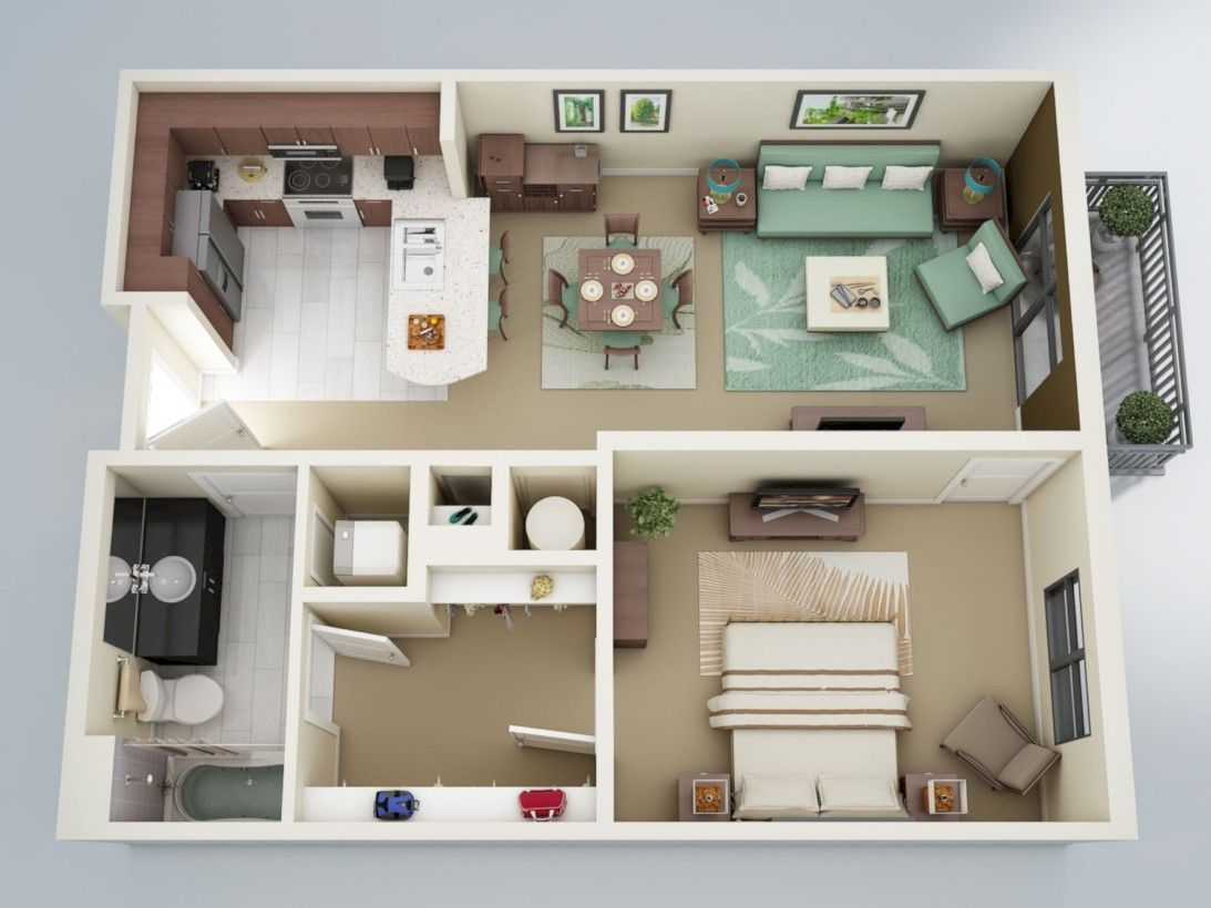 One Bedroom Apartment Plans And Designs Amusing 56 Cool One Bedroom Apartment Plans Ideas  Bedroom Apartment Decorating Inspiration