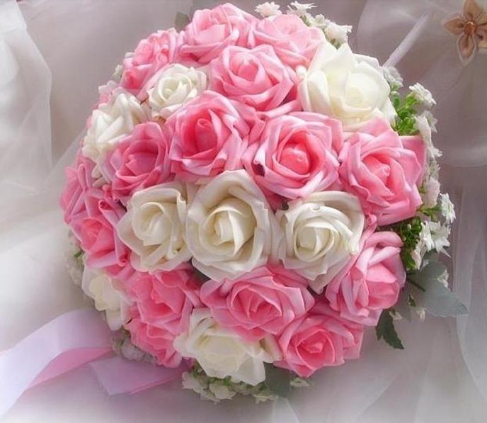 Buquê de noiva 100% New Romantic Wedding colorido Bride ' s Bouquet rosa com branco duplo cor buquê de flores(China (Mainland))