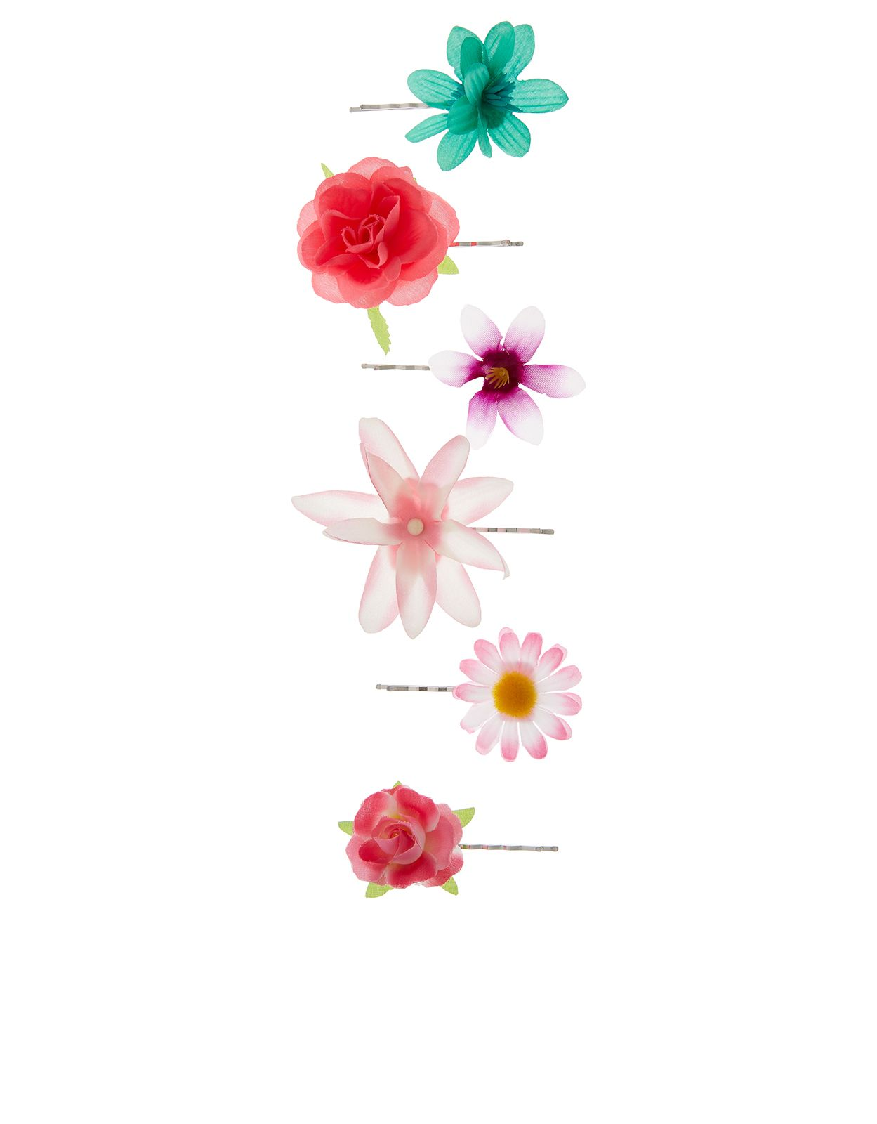 6 x Tropical Flower Hair Slides | Multi | Accessorize