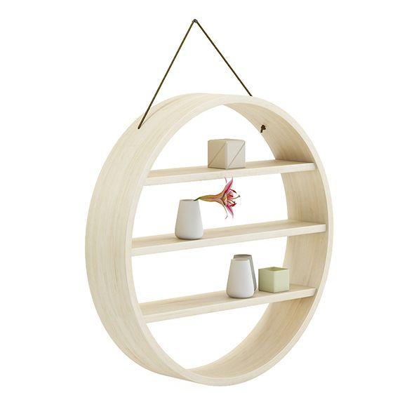 Circle Shaped Wall Shelf 3D Model by CGAxis Circle shaped wall shelf