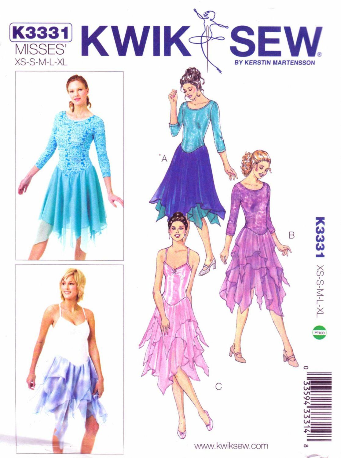 Kwik Sew Sewing Pattern 3331 Misses Size 6-22 Leotards Skirt Dance ...