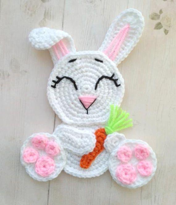 PATTERN Rabbit Applique Crochet Pattern PDF Woodland Animals Pattern Easter Bunny Applique Crochet Easter Rabbit Baby Blanket Baby Gift ENG  #Animals #Applique #Baby #blanket #Bunny #crochet #Easter #ENG #gift #pattern #pdf #Rabbit #Woodland