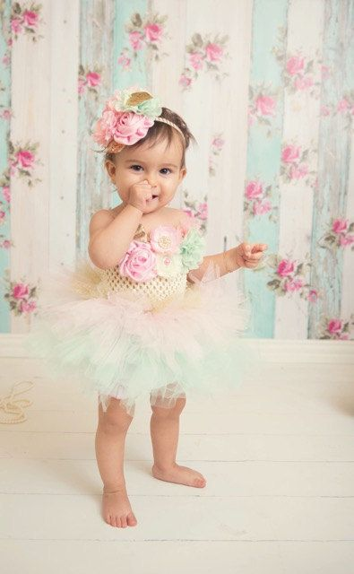 Royal Tea Pink Mint And Gold Girls First Birthday Outfit Tutu